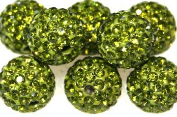 10mm Olive Green 115 Stone  Pave Crystal Beads- Half Drilled PCBHD10-115-019